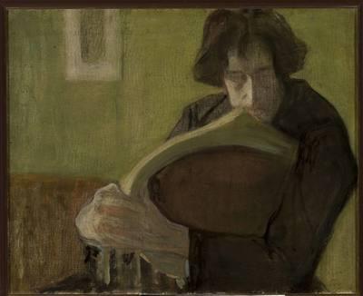 Mężczyzna siedzący na krześle. Portret Mieczysława Jakimowicza