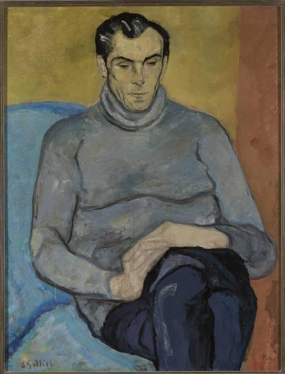 Portret mężczyzny w szarym swetrze