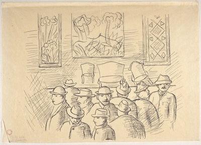 """Grupa publiczności w sali z obrazami, z cyklu """"Licytacja w Hôtel Drouot"""""""