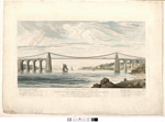 Image from object titled View of the suspension bridge now erecting over the Menai Strait near Bangor in Carnarvonshire