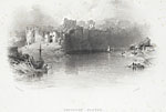 Image from object titled Chepstow Castle, from the Iron Bridge across the Wye