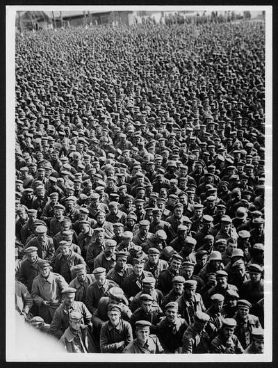 Image from object titled Every day a batch of prisoners of this size, taken on the British Sector of the Western Front, pass through one of the Clearing Depots