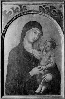 Polyptychon — Maria mit Kind, in Bogenzwickeln anbetende Engel