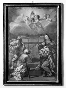Ein Heiliger, Thomas, Theresa und Albert von Sizilien verehren die Eucharistie