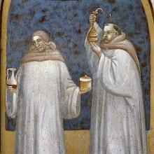 Ausmalung — Zwei Franziskaner mit liturgischem Gerät