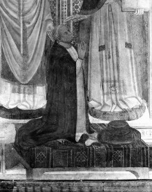 Kapellenausmalung — Heilige und der Stifter — Die heiligen Clemens, Franziskus, Sabinus? und der Stifter