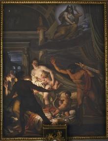 Image from object titled Decken- und Wanddekoration — Wanddekoration — Der Herkulesknabe erwürgt die Schlangen