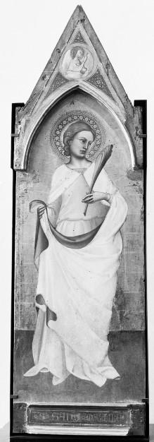 Triptychon mit den Heiligen Laurentius, Ansanus und Margarete — Heiliger Ansanus, darüber Verkündigungsengel