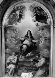 Himmelfahrt Mariens mit heiligem Bonaventura und Johannes dem Täufer
