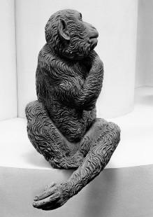 Der Affenbrunnen — Affe mit auf die Schulter gelegter Pfote