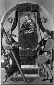 Thronende Madonna mit Kind und den Heiligen Andreas und Julian