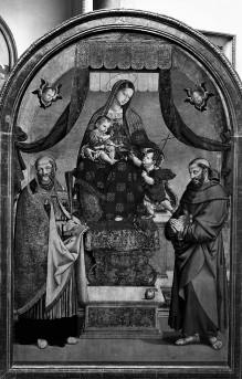 Madonna mit Kind und den Heiligen Johannes dem Täufer, Franz von Assisi und Benedikt