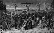Madonna mit Kind, Heiligen und Engeln — Kreuzigung