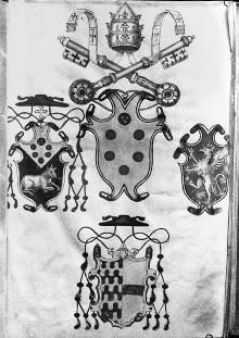 Sussidio Focolare — Buchseite mit verschiedenen Familienwappen, Folio 1recto