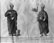 Sussidio Focolare — Buchseite mit fünf Schreibern und den Heiligen Lukas und Herkulanus, Folio 2recto