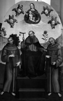 Madonna mit Kind und den Heiligen Antonius Abate, Franziskus und Bernhard