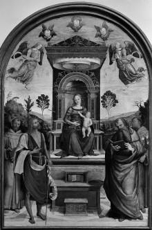 Madonna und Kind und den Heiligen Franziskus, Johannes der Täufer, Hieronymus und Antonius von Padua