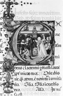 Missale Romanum — Textseite mit historisierter Initiale E: Bethlehemitischer Kindermord, Folio 18