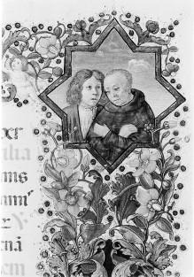 Missale Romanum — Bordüre mit Darstellungen von Geistlichen des Hospitals, Folio 208