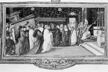 Missale Romanum — Textseite mit Miniaturen zur Weihe der Kirche Sankt Aegidius, Folio 285
