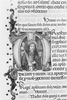 Breviarium — Buchseite mit Text und historisierter Initiale M, Folio 284verso