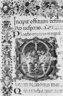 Bußpsalmen — Buchseite mit dem Offitium Defunctorum, Bordüre sowie historisierter Initiale D, Folio 20