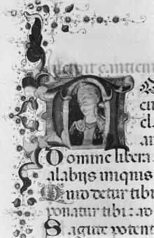 Bußpsalmen — Buchseite mit Text, Bordüre, und historisierter Initiale A, Folio 58