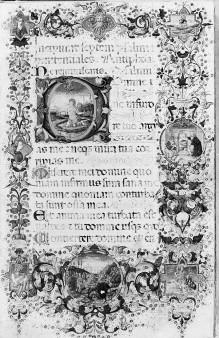 Bußpsalmen — Buchseite mit Bußpsalmen, Bordüre sowie historisierter Initiale D, mit Darstellungen zum Leben König Davids, Folio 1