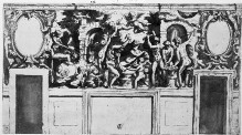 Entwurf für die Wanddekoration der Sala degli Elementi im Palazzo Vecchio mit der Schmiede des Vulkan