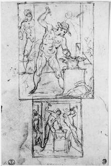 Studienblatt zur Schmiede des Vulkan in der Sala degli Elementi im Palazzo Vecchio — Zwei Kompositionsskizzen zu Gruppen in der Schmiede, Folio verso