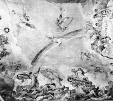 Deckenfresko mit dem Thema Triumph der Venus mit Sinopien — Triumph der Venus und Neptun mit den Tritonen sowie Putten