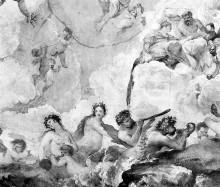 Deckenfresko mit dem Thema Triumph der Venus mit Sinopien — Triumph der Venus und die Götter im Olymp