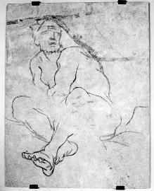 Sinopien zum Deckenfresko Triumph der Venus im Palazzo Orlandini — Figur des Satyrs