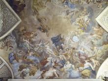 Verherrlichung der Künste in der Toskana und die Götter des Olymp — Deckenfresko Verherrlichung der Künste in der Toskana mit Porträts von Brunelleschi, Michelangelo, Raffaello und anderen