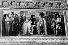 Zyklus Historienmalerei zum Herrscherhaus Savoyen im Palazzo Reale in Turin — Die Städter Nizzas wenden sich an Amedeo VII Graf von Savoyen, nach dem sie vom Landgraf der Provence verlassen wurden (1390)