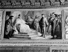 Zyklus Historienmalerei zum Herrscherhaus Savoyen im Palazzo Reale in Turin — Pietro II, Graf von Savoyen erhielt von König Riccardo mehrere Provinzen (1263)