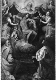 Zwei Heilige in Anbetung der Trinität