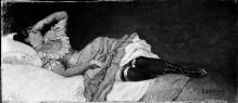 Frau, auf einem Bett liegend
