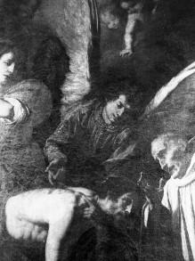 Christus zeigt dem heiligen Bernhard die Wundmale auf dem Rücken