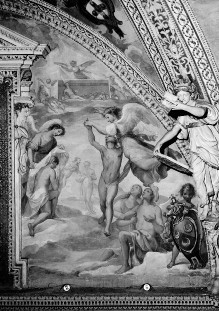 Ausmalung des Oratorio della Santissima Trinità — Apokalypsenzyklus in den Lünetten — Die vier Reiter und Einkleidung der Märtyrer