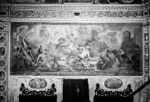 Ausmalung des Oratorio della Santissima Trinità — Wanddekoration — Gemälde in der oberen Wandzone — Tod des Trinitätslästerers Olympius