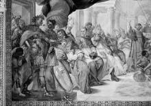 Ausmalung des Oratorio della Santissima Trinità — Wanddekoration — Gemälde in der oberen Wandzone — Die Verdammung des Arius