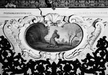 Ausmalung des Oratorio della Santissima Trinità — Wanddekoration — Darstellungen aus dem Leben der Heiligen und Seligen der Familie Piccolomini — Die Jungfrau erscheint dem Seligen Mino Piccolomini