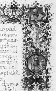 Psalter — Buchseite mit Randbordüre, eingeschlossenen Medaillons, Text und historisierter Initiale P mit dem auferstandenen Christus, Folio 1