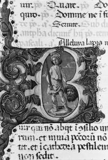 Psalter — Historisierte Initiale B: David mit dem Kopf Goliaths, Folio 1verso