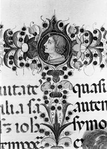 Evangeliar — Folio mit Randbordüre mit eingeschlossenen Medaillons mit Heiligen und Miniatur mit der Darstellung der Berufung Petrus' und Andreas', Folio 86verso