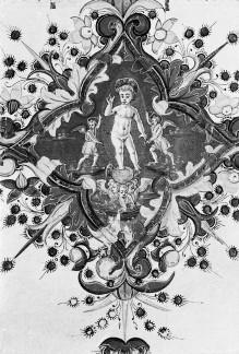 Evangeliar — Folio mit Miniatur mit der Anbetung des Christuskindes und Vierpass mit dem segnenden Christuskind auf einer Weltkugel, Folio 4verso