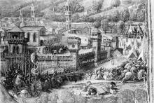 Psalter und Neues Testament — König David im Gebet, mit der Ansicht Jerusalems im Hintergrund und Darstellungen von Louis XI. von Frankreich, Karl VIII. und Matthias Corvinus, Folio 2verso