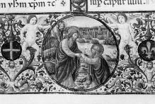 Messale — Buchseite mit Randbordüre, eingeschlossenem Medaillon mit der Berufung des Apostels Andreas, Text und historisierter Initiale D mit Andreas, Folio 250