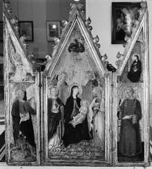 Triptychon: Madonna mit Kind, von Heiligen umringt